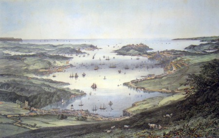 Painting of Falmouth, Cornwall in the 1700s