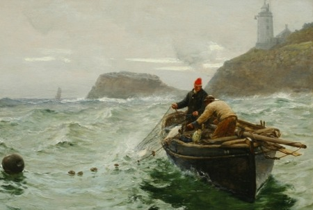 Along Shore Fishermen by Charles Napier Hemy 1890 - courtesy of Falmouth Art Gallery