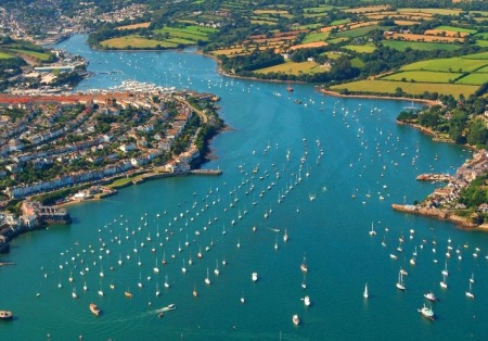 Carrick Roads an Ariel shot of Falmouth's estuary