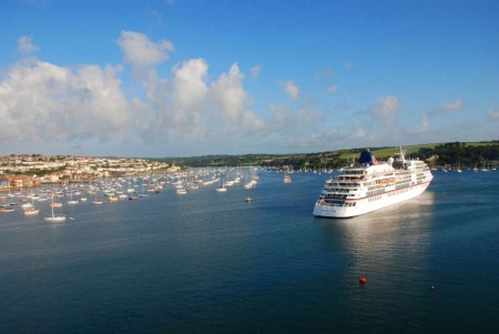 Cruise ship Europa in Falmouth harbour on a sunny day