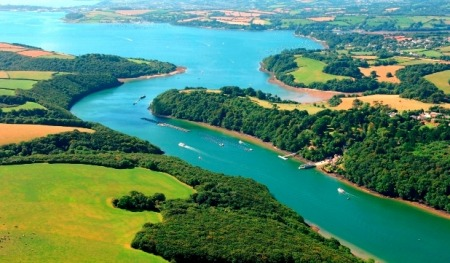 Aerial view of the River Fal looking towards Falmouth, Cornwall - credit CMN